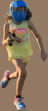 Girl running at gellyball birthday party